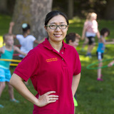 ISU graduate student Yang Bai with kids at fitness camp