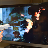 TV screen with image of violent video game
