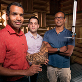 Anupam Sharma and his research team in Howe Hall's anechoic chamber for studying aeroacoustics.