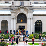 Students walking on campus near the Memorial Union
