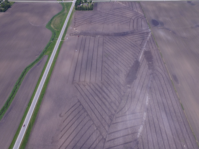 Aerial photo of farm field that shows drainage infrastructure